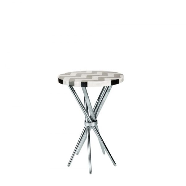 Retro Table Chevron in Stainless Steel