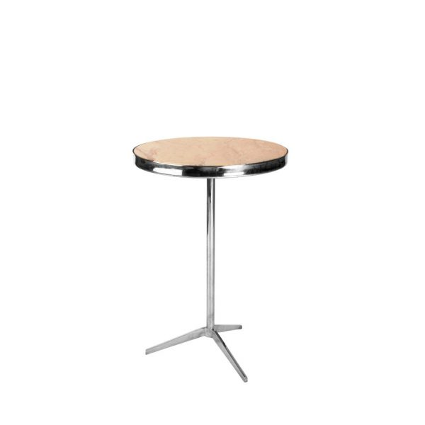 Tripod Table Stainless Steel with Beige Top